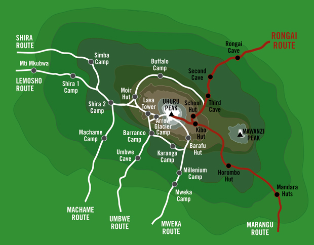 Kilimanjaro-Rongai-Route-Map-quest horizon safaris